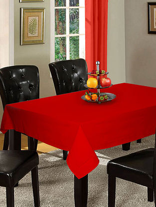 Red Cotton Hole Stitched 6-Seater Table Cover (90in x 60in)