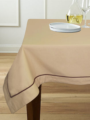 Beige Cotton 6-Seater Table Cover (90in x 60in)