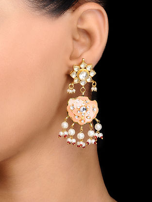 Peach Gold Tone Kundan Inspired Meenakari and Jadau Earrings