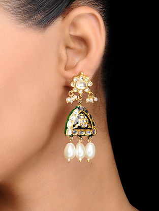 Black Gold Tone Kundan Inspired Meenakari and Jadau Earrings