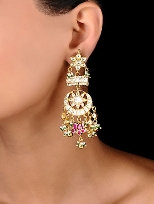 Pink Gold Tone Padmamukhi Kundan Inspired Jadau Earrings