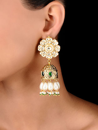 Green Gold Tone Kumuda Kundan Inspired Jadau Earrings