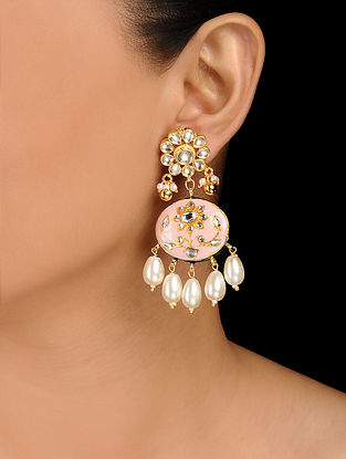 Pink Gold Tone Kundan Inspired Meenakari and Jadau Earrings