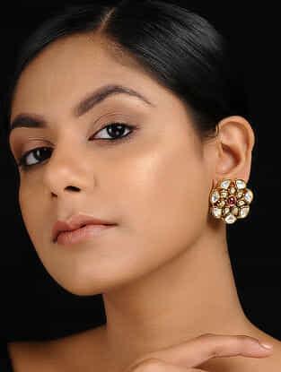 Pink Gold Tone Kundan Inspired Jadau Stud Earrings