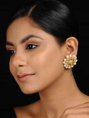 Classic Gold Tone Kundan Inspired Jadau and Pearl Beaded Stud Earrings