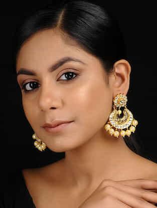 Classic Gold Tone Kundan Inspired Jadau Chandbali Earrings