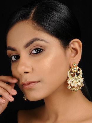 Classic Gold Tone Kundan Inspired Jadau and Pearl Beaded Earrings