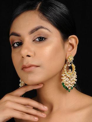Green Gold Tone Kundan Inspired Jadau and Onyx Chandbali Earrings