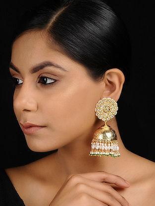 Classic Gold Tone Kundan Inspired Jadau Jhumkis