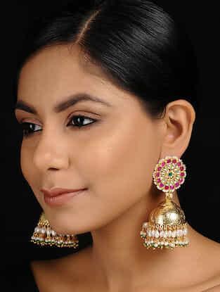 Pink Gold Tone Kundan Inspired Jadau Jhumkis