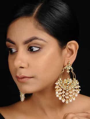 Classic Gold Tone Kundan Inspired Jadau and Pearl Beaded Chandbali Earrings