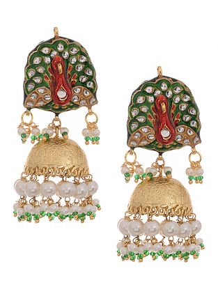 Red-Green Gold Tone Kundan Inspired Meenakari and Jadau Earrings