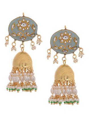 Powder Blue Gold Tone Kundan Inspired Meenakari and Jadau Jhumkis