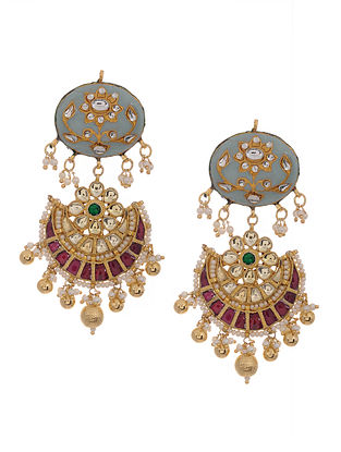 Powder Blue-Pink Gold Tone Kundan Inspired Meenakari and Jadau Earrings