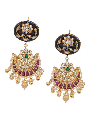 Pink-Black Gold Tone Kundan Inspired Meenakari Jadau Earrings