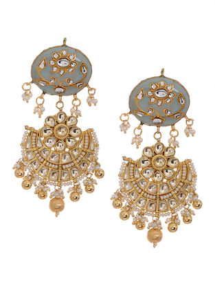 Feroza Gold Tone Kundan Inspired Meenakari Jadau Earrings