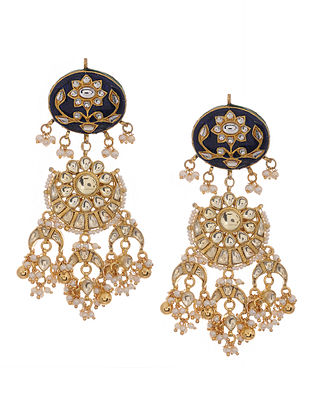 Indigo Gold Tone Kundan Inspired Meenakari and Jadau Earrings