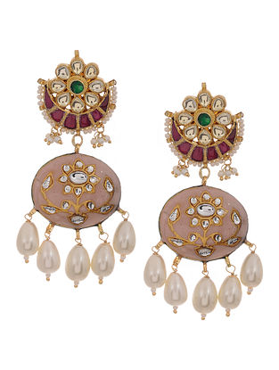 Pink-Green Gold Tone Kundan Inspired Meenakari and Jadau Earrings