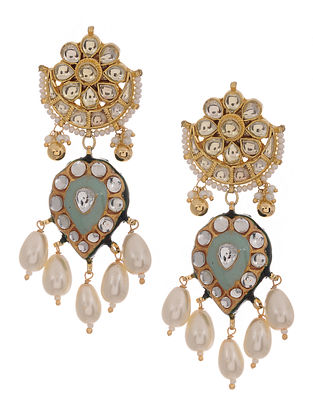 Feroza Gold Tone Kundan Inspired Meenakari and Jadau Earrings
