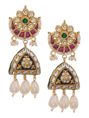Multicolored Gold Tone Kundan Inspired Meenakari and Jadau Earrings