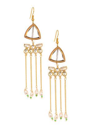 Gold Tone Kundan Inspired Jadau Glass Earrings