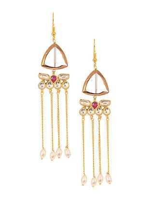 Red Gold Tone Kundan Inspired Jadau Glass Earrings