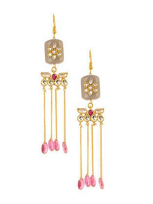 Grey-Pink Gold Tone Kundan Inspired Earrings