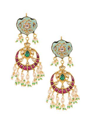 Multicolored Gold Tone Meenakari Jadau Earrings