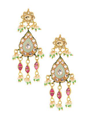 Feroza Gold Tone Meenakari Jadau Earrings