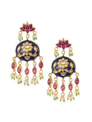 Indigo-Pink Gold Tone Meenakari Earrings