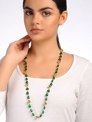 Green Gold Onyx Beaded Necklace