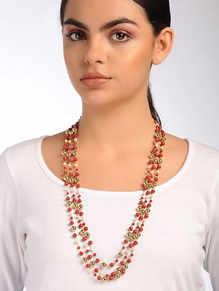 Coral Gold Beaded Necklace
