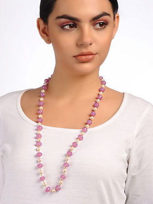 Pink White Beaded Pearl Necklace