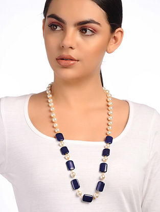 Blue White Beaded Pearl Necklace