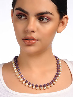 Purple White Glass Beaded Necklace with Pearls