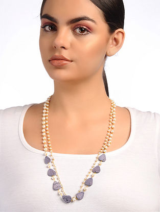 Purple White Amethyst and Pearl Beaded Necklace
