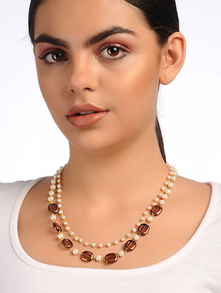 Brown White Glass Stone Rose Quartz Beaded Necklace