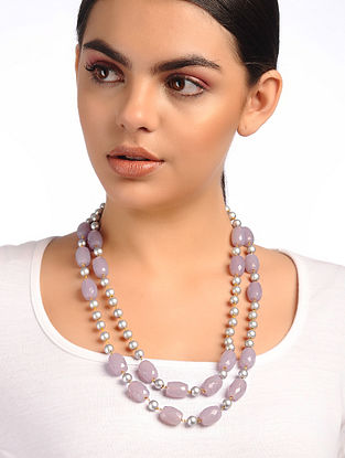 Purple Silver Glass Beads and Pearl Beaded Necklace
