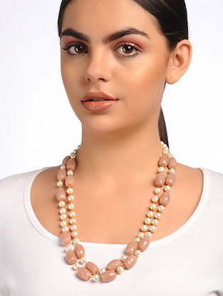 Coral Glass Beads and Pearl Beaded Necklace