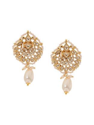 Classic Gold Tone Kundan Inspired Jadau Earrings
