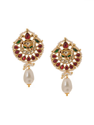 Red Green Gold Tone Kundan Inspired Jadau Earrings
