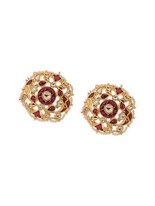 Red Gold Tone Kundan Inspired Jadau Stud Earrings