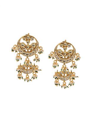 Classic Gold Tone Kundan Inspired Jadau Stud Earrings