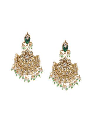 Green Gold Tone Kundan Inspired Jadau Stud Earrings
