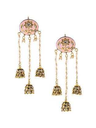 Pink Gold Plated Meenakari Earrings with Pearls