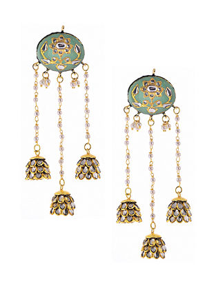 Mint Green Gold Plated Meenakari Earrings with Pearls