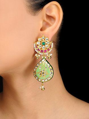 Green Kundan Inspired Meenakari and Jadau Pearl Beaded Earrings