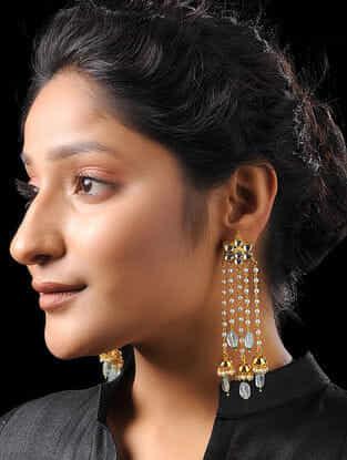 Green Gold Tone Meenakari Jadau Earrings