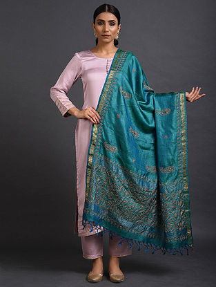 Blue Chikankari Tussar Silk Dupatta