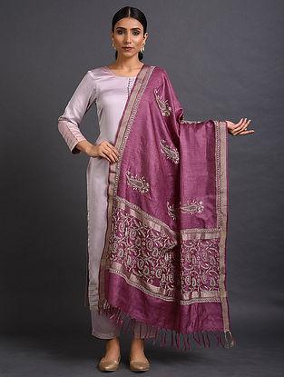 Purple Chikankari Tussar Silk Dupatta